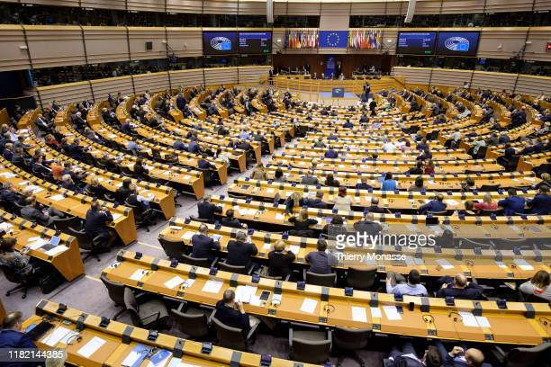 President of the Bundestag Wolfgang Schauble and the the President of the European David Maria Sassoli attend a session of the European Parliament on...