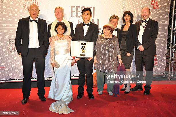 President of the Camera d'Or jury Agnes Varda and Director Anthony Chen winner of the 'Camera d'Or' for Best First Film attend the 'Palme D'Or...