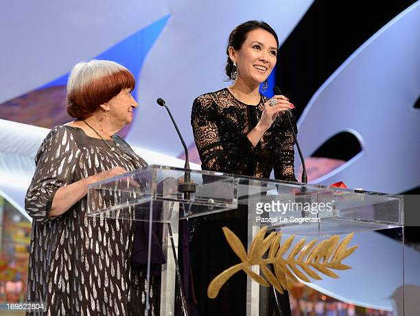 President of the Camera d'Or jury Agnes Varda and 'Un Certain Regard' jury member Zhang Ziyi on stage during the Closing Ceremony during the 66th...