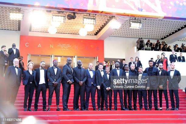 President of the Cannes Film Festival Pierre Lescure Frederique Bredin and The Cast of The Miserables attend the screening of Les Miserables during...