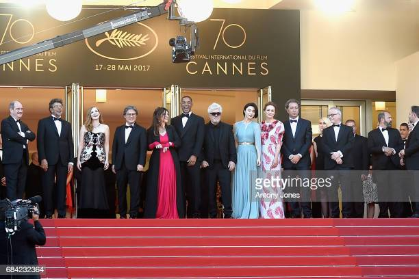 President of the Cannes Film Festival Pierre Lescure jury members Gabriel Yared Jessica Chastain Park Chanwook Agnes Jaoui and Will Smith President...