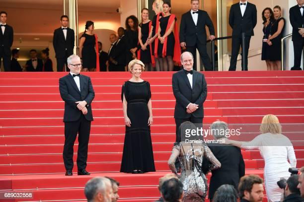 President of the Cannes Film Festival Pierre Lescure La Presidente of CNC Frederique Bredin and Director of the Cannes Film Festival Thierry Fremaux...