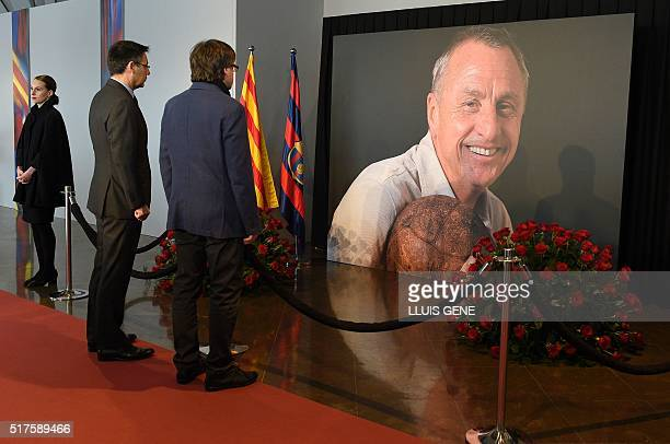 President of the Catalan Government Carles Puigdemont and FC Barcelona's president Josep Maria Bartomeu pay tribute to late Dutch football star Johan...