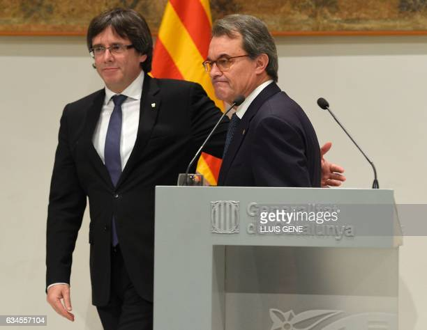 President of the Catalan Government Carles Puigdemont and former President of the Catalan Government and leader of Partit Democrata Europeu Catala...