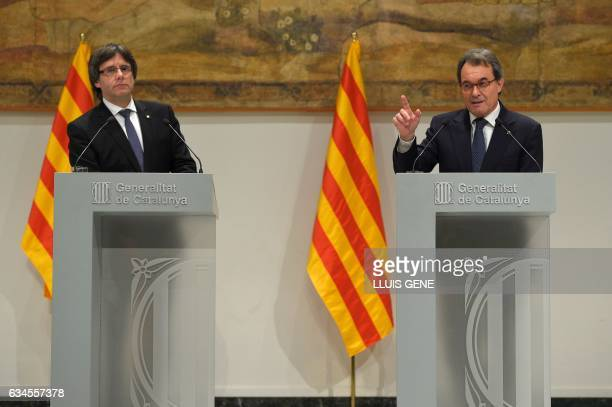 President of the Catalan Government Carles Puigdemont listens to former President of the Catalan Government and leader of Partit Democrata Europeu...