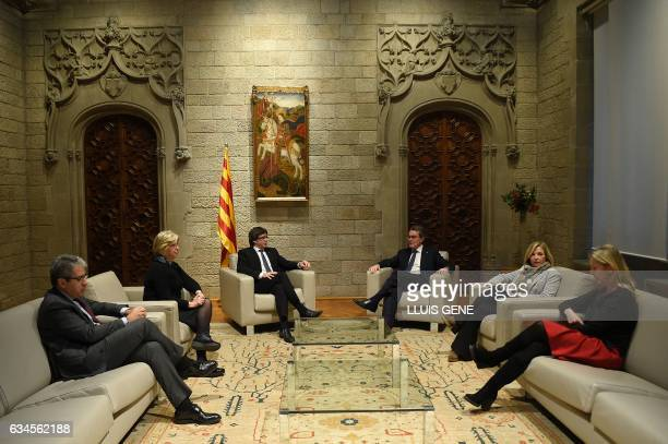 President of the Catalan Government Carles Puigdemont talks with former President of the Catalan Government and leader of Partit Democrata Europeu...