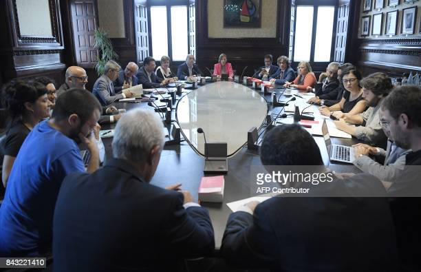 President of the Catalan parliament Carme Forcadell presides a spokepersons meeting during a session recess at the Catalan parliament in Barcelona on...