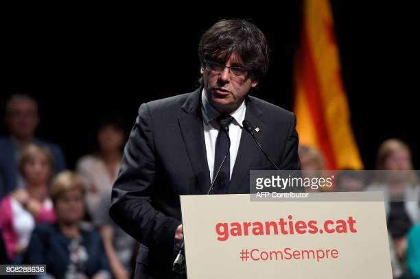 President of the Catalan regional government Carles Puigdemont gives details of the referendum of self-determination of Catalonia to be held on the...