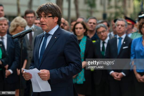 President of the Catalan regional government Carles Puigdemont speaks during a ceremony marking the 30th anniversary of ETA attack against...