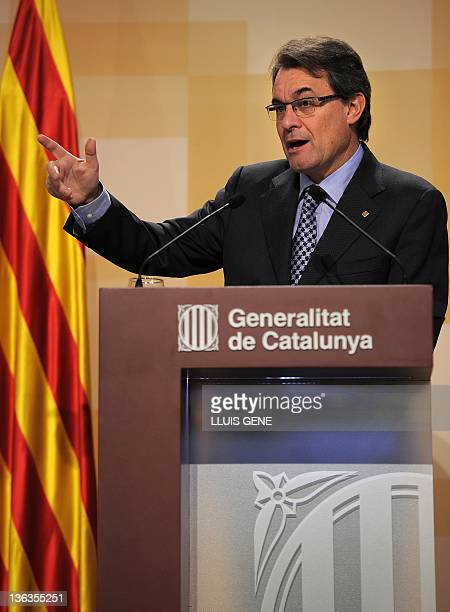 President of the Catalan regional government, Generalitat de Catalunya, Artur Mas gives a press conference to discus his first year in power on...