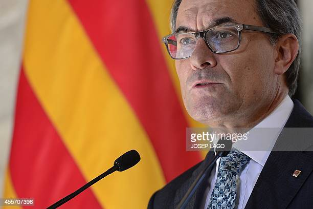 President of the Catalonian regional government Artur Mas gives a press conference following Scotland's 'No' vote on independence at the Generalitat...
