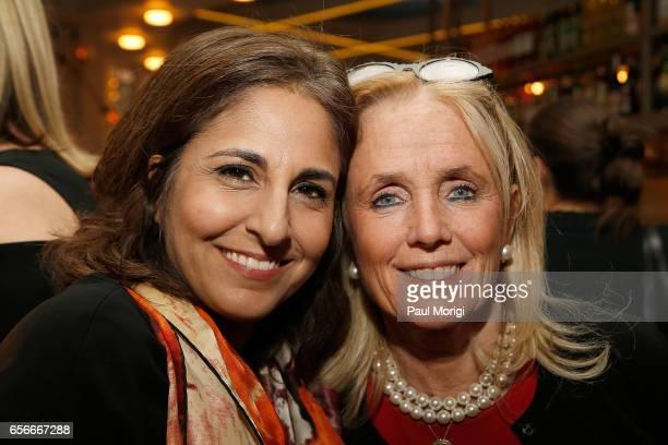 President of the Center for American Progress Neera Tanden left and Rep Debbie Dingell attend ELLE and Bottega Veneta Women in Washington dinner...