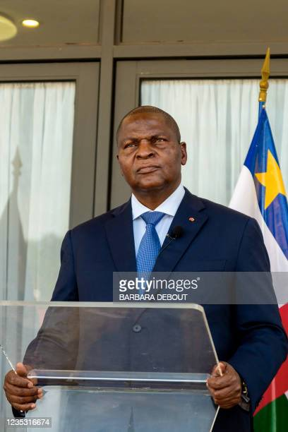 President of the Central African Republic Faustin-Archange Touadera speaks to the press along with the vice-president of theWorld Bankfor West and...