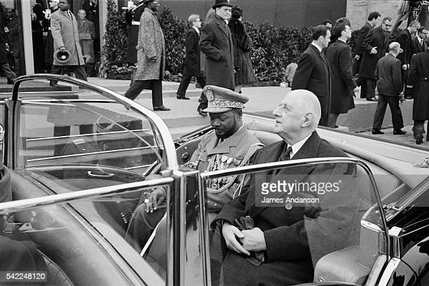 President of the Central African Republic JeanBedel Bokassa is welcomed in Paris by French President Charles de Gaulle