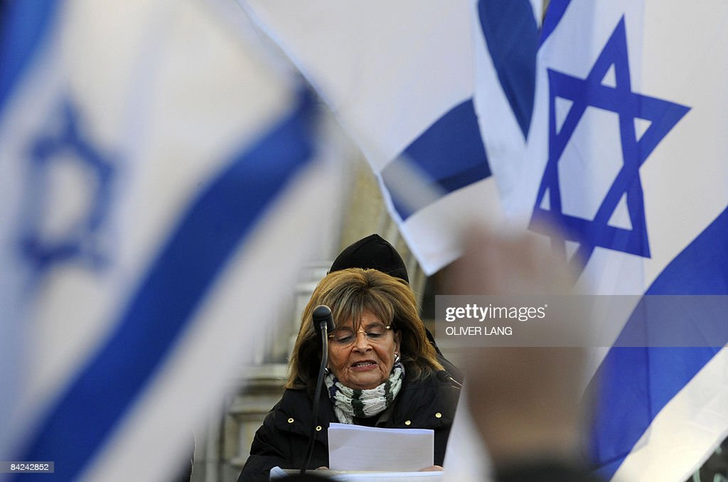 President of the Central Council of Jews in Germany Charlotte Knobloch gives a speech during a pro-Israeli rally on January 11, 2009 in Munich, southern Germany. Israel indicated for the first time on Sunday (January 11, 2009) that an end was in sight to its war on Hamas, amid some of the heaviest clashes of an offensive that has killed nearly 900 people in the Gaza Strip.