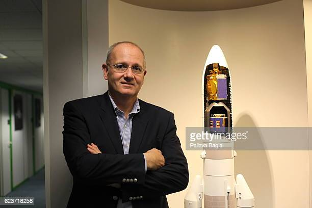 President of the Centre National d'Etudes Spatiales JeanYves Le Gall poses in the offices of French government space agency on October 8 2016 in...