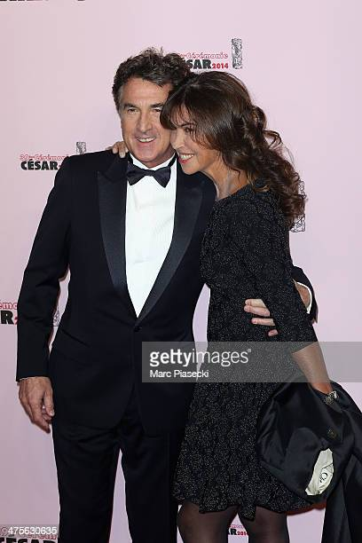 President of the ceremony Francois Cluzet and his wife Narjiss arrive for the 39th Cesar Film Awards 2014 at Theatre du Chatelet on February 28 2014...
