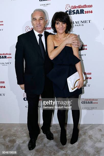 President of the 'Cesar' the French Academy Awards Alain Terzian and 'Cesar Host' Florence Foresti attend the 'Cesar Revelations 2016' Photocall at...