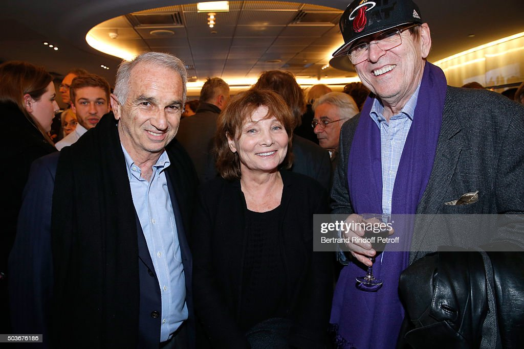 President of the 'Cesar', the French Academy Awards Alain Terzian, Director of the movie Diane Kurys and Director Jean-Marie Poire attend the 'Arrete Ton Cinema !' Paris Premiere at Publicis Champs Elysees on January 6, 2016 in Paris, France.