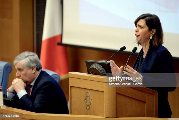President of the Chamber Laura Boldrini and President of the European Parliament Antonio Tajani during the Presentation of the book 'The challenge of...