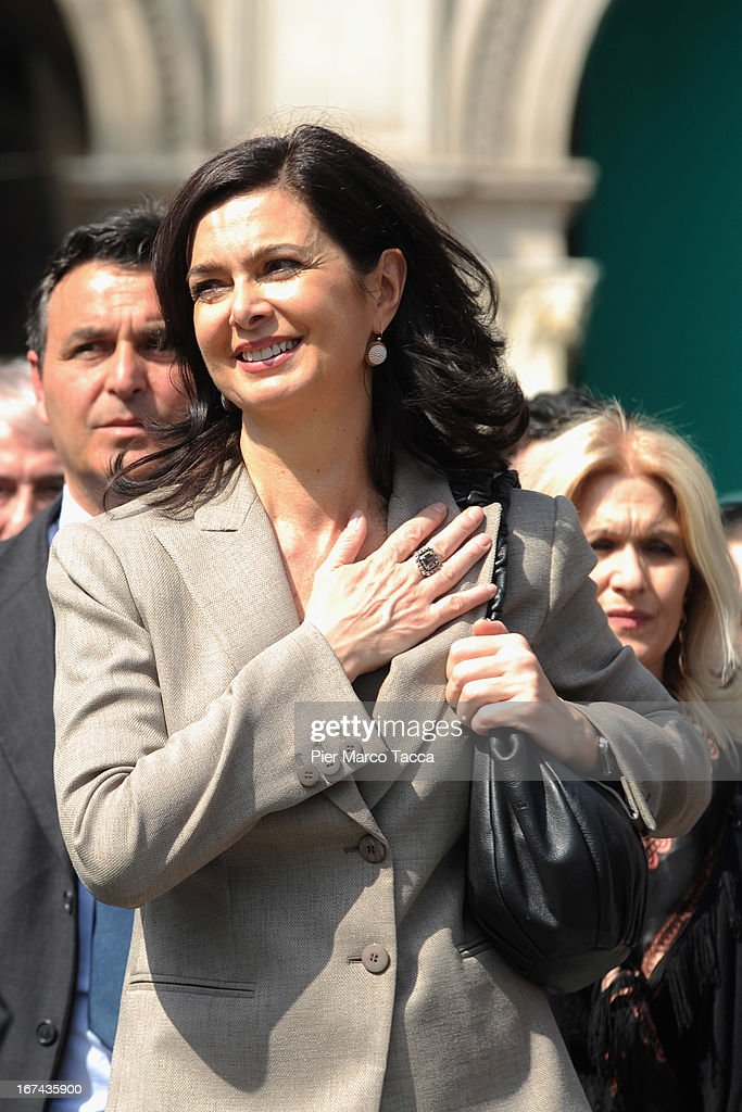 President of the Chamber of Deputies Laura Boldrini attends a march during celebrations to mark the 68th Festa Della Liberazione on April 25, 2013 in Milan, Italy.The symbolic celebration day commemorates the Liberation of Italy and the Italian resistance movement after the Nazi occupation army left Northern Italy on April 25, 1945.