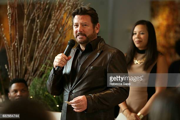 President of the LA Chapter and Concord Records John Burk speaks at 3rd Annual Los Angeles Chapter Nominee Brunch Celebration at Fig & Olive on...