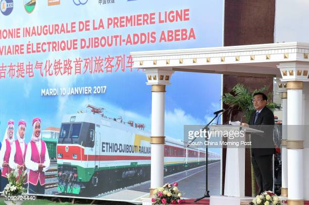 President of the 'China Civil Engineering Construction Corporation' Yuan Li speaks during the inauguration ceremony of the Djibouti - Addis Ababa...