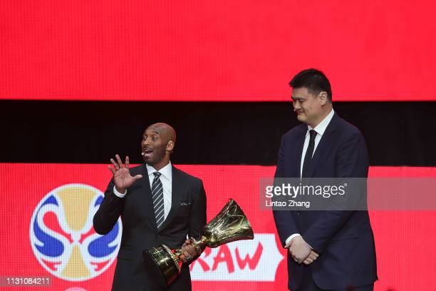 President of the Chinese Basketball Association Yao Ming and Kobe Bryant attend the FIBA Basketball World Cup 2019 Draw Ceremony on March 16 2019 in...