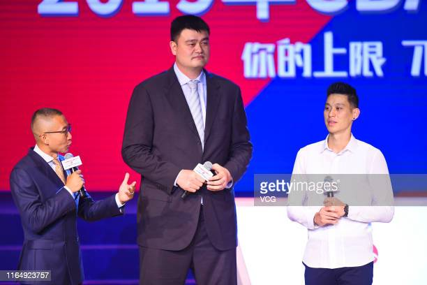 President of the Chinese Basketball Association Yao Ming and NBA player Jeremy Lin of the Toronto Raptors attend the 2019 CBA Draft on July 29 2019...