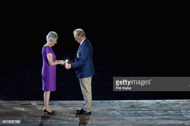 President of the Commonwealth Games Federation Louise Martin and Chairman of Gold Coast 2018 Commonwealth Games Corporation Peter Beattie are seen...