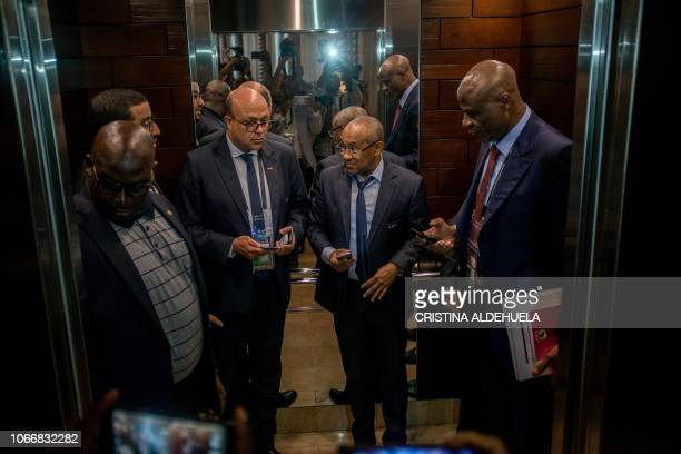 President of the Confederation of African Football Ahmad Ahmad is pictured in an elevator after an extraordinary meeting with CAF executives at the...
