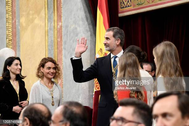 President of the Congress Meritxell Batet King Felipe VI of Spain Queen Letizia of Spain Princess Leonor Princess Sofia attend the solemn opening of...