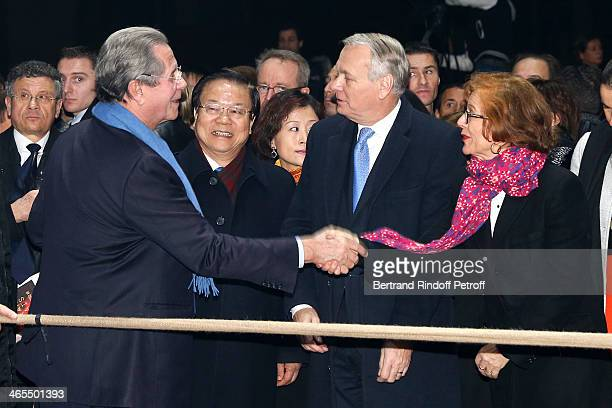 President of the Constitutional Council JeanLouis Debre China Culture Minister Cai Wu and French Prime Minister JeanMarc Ayrault with his wife...