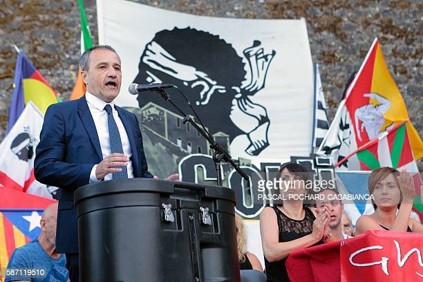 President of the Corsican assembly Jean Guy Talamoni delivers a speech during at the end of the Ghjurnate Internaziunale di Corti on August 7 2016 in...