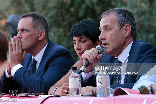 President of the Corsican assembly Jean Guy Talamoni delivers a speech during the Ghjurnate Internaziunale di Corti on August 7 2016 in Corte on the...