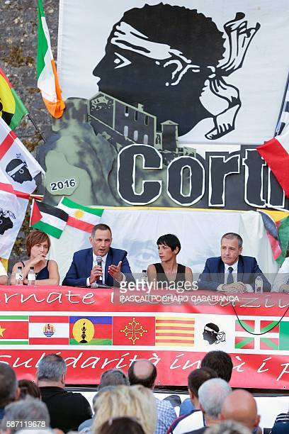 President of the Corsican executive council Gilles Simeoni delivers a speech during the Ghjurnate Internaziunale di Corti on August 7 2016 in Corte...