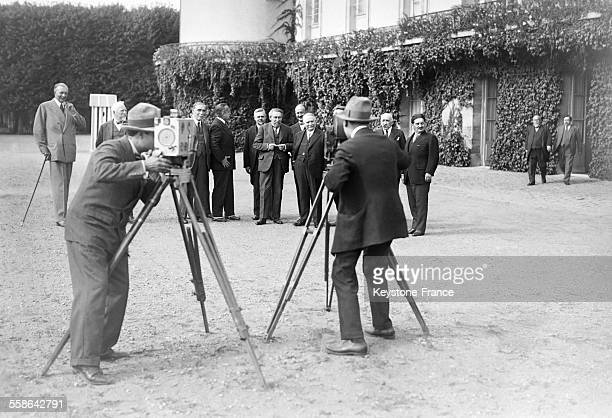 President of the Council Aristide Briand and his cabinet during a photo session in August 1929 in Rambouillet France