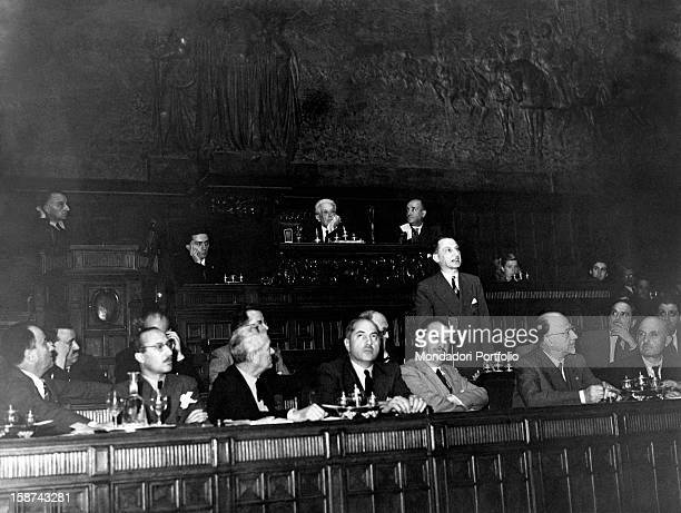 President of the Council of Ministers of the Italian Republic Alcide De Gasperi speaking in Montecitorio during the first meeting of the Constituent...