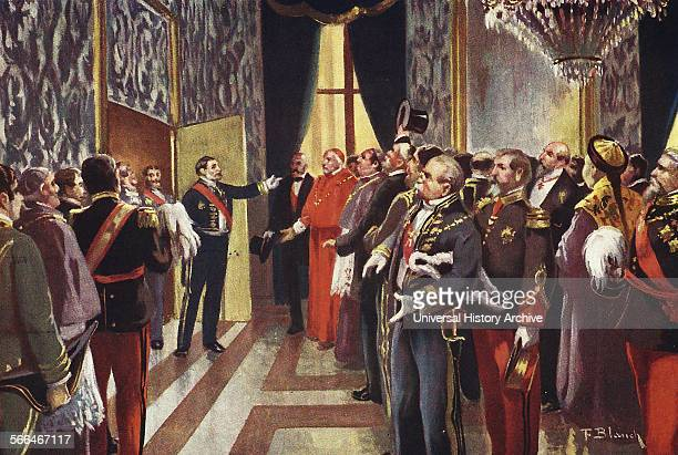 President of the council of ministers Praxedes Sagasta announces the birth of King Alfonso XII of Spain 1886