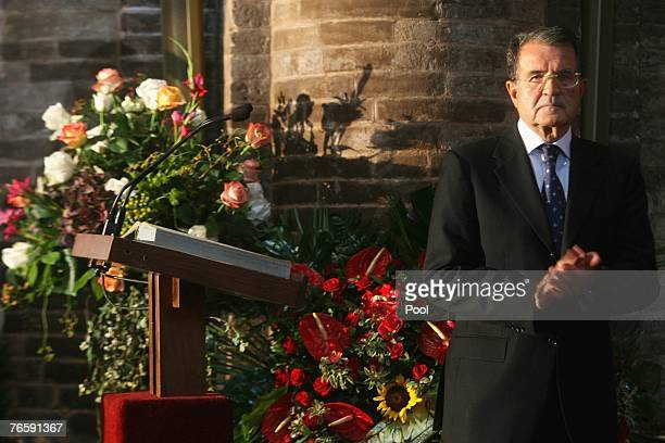 President of the Council of Ministers Romano Prodi attends Luciano Pavarotti's funeral held in Modena's Duomo on September 8 2007 in Modena Italy...