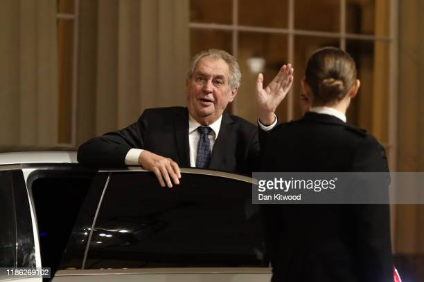 President of the Czech Republic Miloš Zeman arrives at a reception for NATO leaders hosted by Queen Elizabeth II at Buckingham Palace on December 3,...