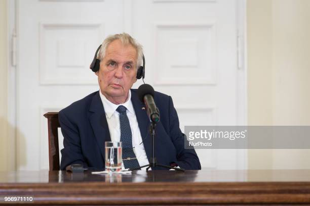 President of the Czech Republic Milos Zeman during the press conference with President of Poland Andrzej Duda at Presidential Palace in Warsaw,...