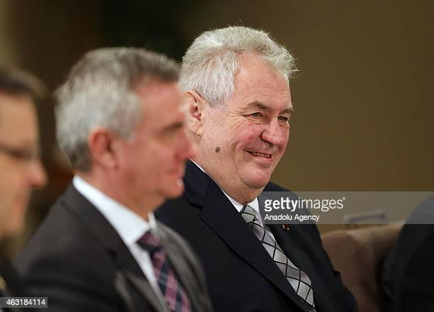 President of the Czech Republic Milos Zeman meets with Jordan's King Abdullah II at Al Husseineya palace on February 11 2015 in Amman Jordan...