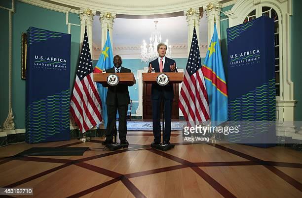 President of the Democratic Republic of Congo Joseph Kabila and US Secretary of State John Kerry speak to members of the media before a bilateral...