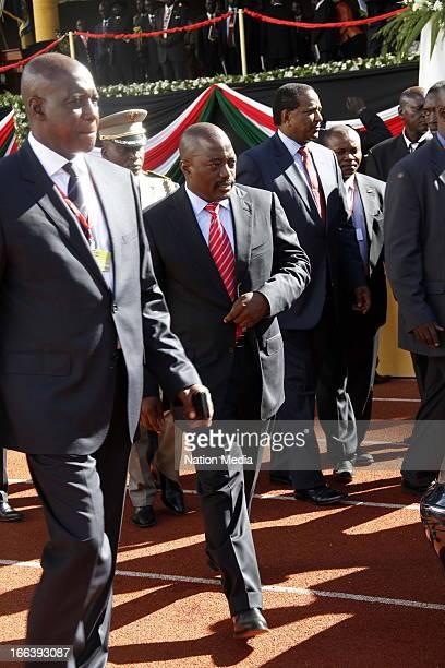 President of the Democratic Republic of Congo Joseph Kabila arrives at the Inauguration ceremony of President Uhuru Kenyatta on April 9 2013 in...