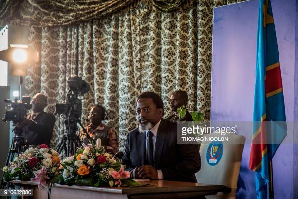 President of the Democratic Republic of Congo Joseph Kabila holds a press conference for the first time in five years on January 26 2018 in Kinshasa...