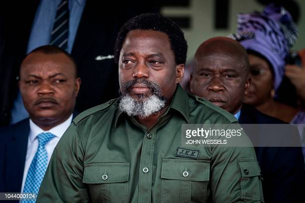 President of the Democratic Republic of the Congo Joseph Kabila attends a ceremony where he will burn one ton of ivory and pangolin scales on...