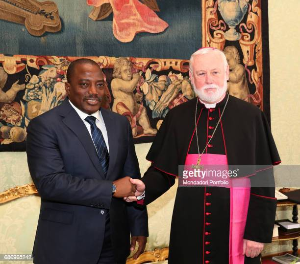 President of the Democratic Republic of the Congo Joseph Kabila and Welsh Archbishop Paul Richard Gallagher Secretary for Relations with States...