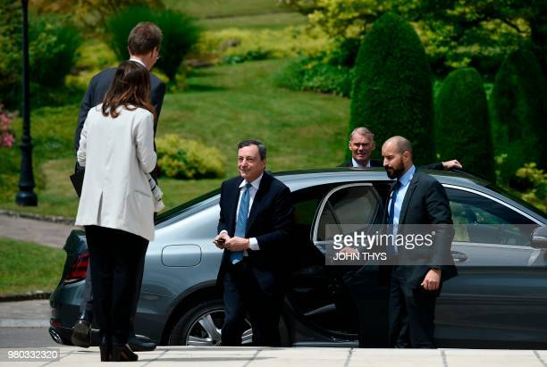 President of the ECB Mario Draghi arrives during a Eurogroup meeting at Senningen Castle in Luxembourg on June 21 2018