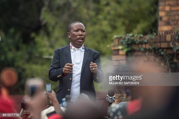 President of the Economic Freedom Fighters Julius Malema adresses the media outside the home of late South African anti-apartheid campaigner Winnie...